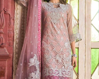 12701a4a0726 Zainab Chottani Embroidered Zari Net Unstitched 3 Piece Suit Wedding  Collection (Inspired)