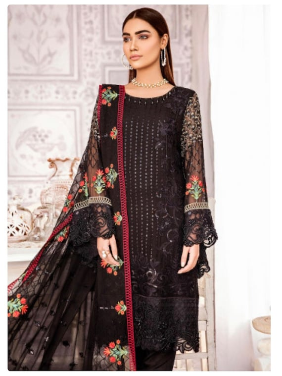 1cc44689a2 Items similar to Original Zaryab By Flossie Embroidered Chiffon Unstitched  3 Piece Suit FLZ18C 09 - Luxury Collection on Etsy