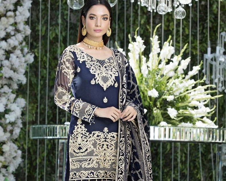 a163c0d77a Original Gulaal Embroidered Chiffon Unstitched 3 Piece Suit | Etsy