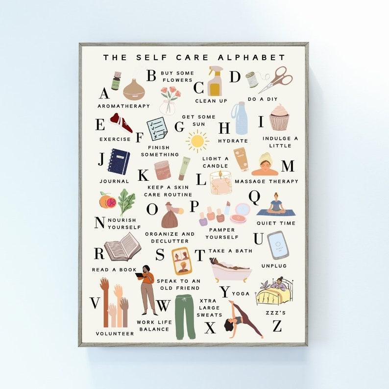 The Self Care Alphabet  Self Care ABC's Poster  Digital image 1