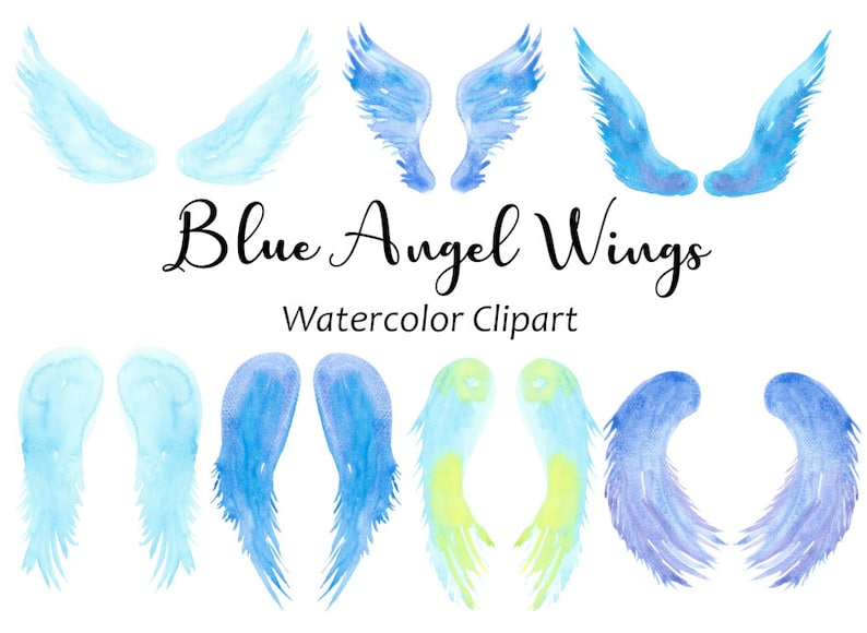 Blue Angel Wings Watercolor Clipart Hand Painted Watercolor PNG Graphics Fantasy Clip Art Instant Digital Download