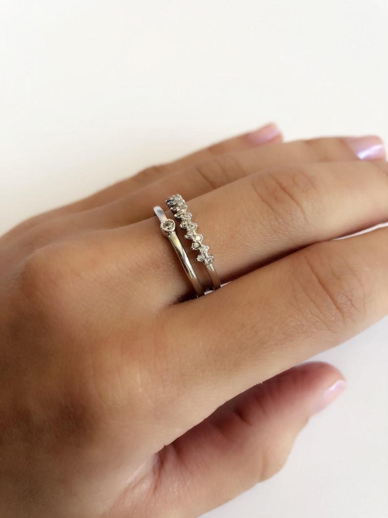Delicate double ring \u2022 Double band ring \u2022 Rhodium plated ring \u2022 Layered ring \u2022 Skinny ring \u2022 Minimal ring \u2022 Thin ring\u2022 Gift for her\u2022 CZ ring