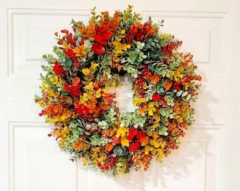 "Fall Wreath Eucalyptus Farmhouse Wreath Front Door Wreath Gift 15"" Artificial Greenery"