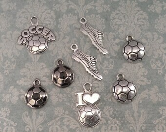 8 Soccer ball charms antique silver tone SP25
