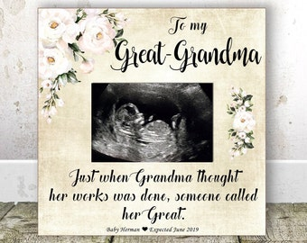 GREAT GRANDMA Pregnancy Announcement Sonogram Frame Great Grandma Gift Christmas New Birthday