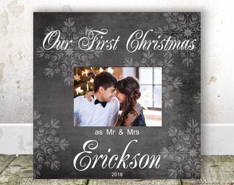 first christmas as married frame personalized newlywed gift our first christmas as mr and mrs frame our first married christmas gift wife
