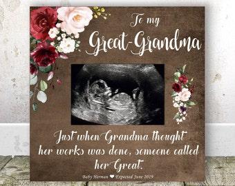 GREAT GRANDMA Pregnancy Announcement Sonogram Frame Great Grandma Gift Christmas New Birthday