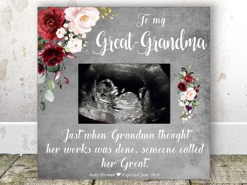 GREAT GRANDMA Pregnancy Announcement Sonogram Frame Great Grandma Gift Great Grandma Christmas Gift New Great Grandma Birthday Gift Grandma