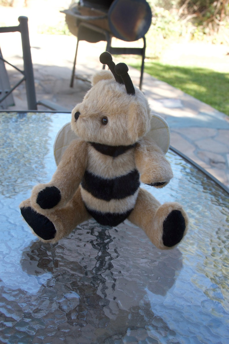 Jointed Handmade Teddy Bear Plush Bee with Felt Wing Brown and black color