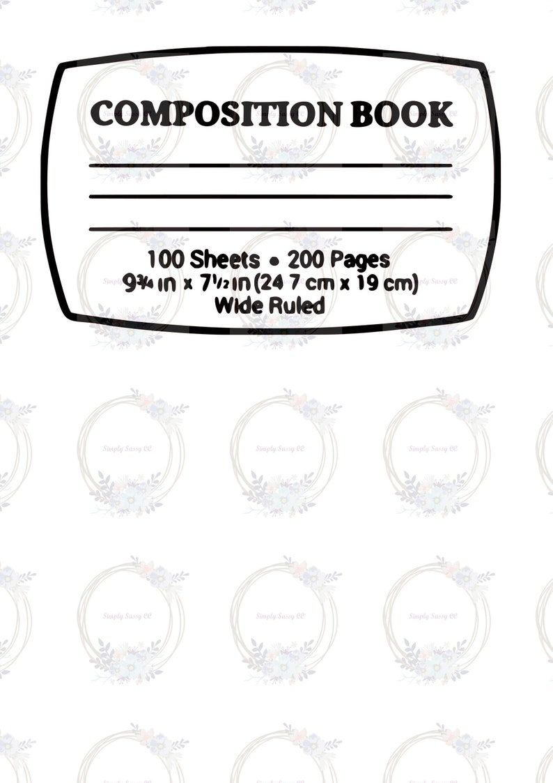 Composition Notebook Label SVG PNG for sublimation, printing, digital,  commercial use ok, watercolor