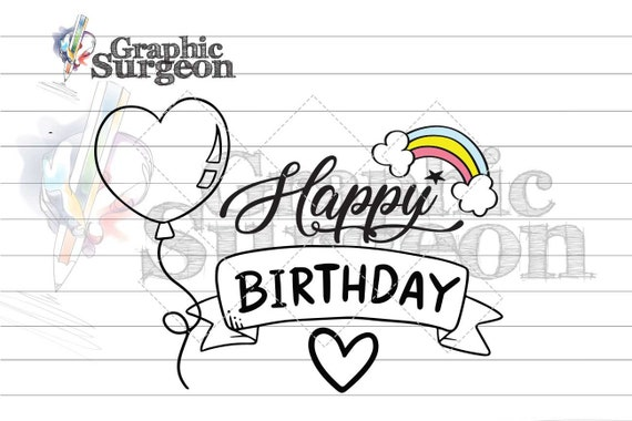 Happy Birthday Custom Svg Cut File Printable Greeting Cards Etsy