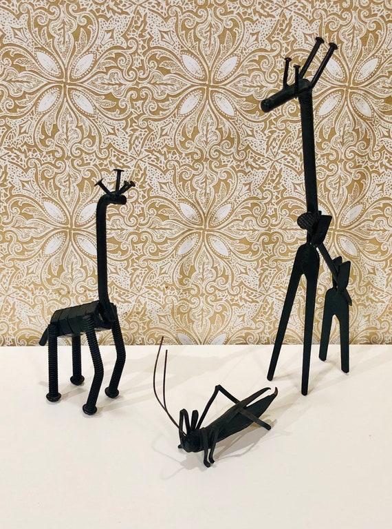 Scrap Metal Art Scrap Metal Animals Giraffe And Cricket Etsy
