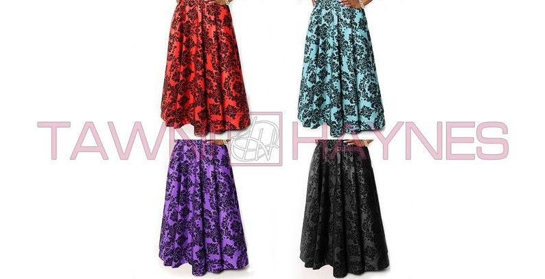 0b6506528704a Floor Length High Waist Swing Skirt in Damask Taffeta   Etsy