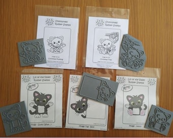 5 Moggi the Cat Unmounted Rubber Stamps