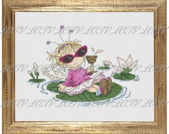 Water Lily Counted Cross Stitch Chart