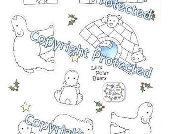5 Polar Bear Shaped Die Cut Sheets