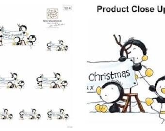 5 Merry Christmas Penguins Die Cut Sheets