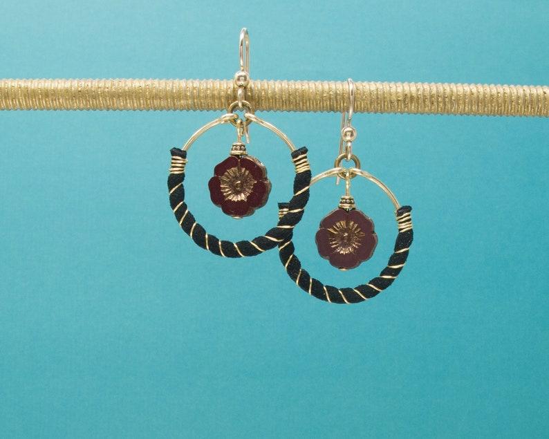 red hibiscus earrings Christmas earrings holiday earrings 14 K gold fill ear wires Gold wire wrapped black Vegan leather hoop earrings
