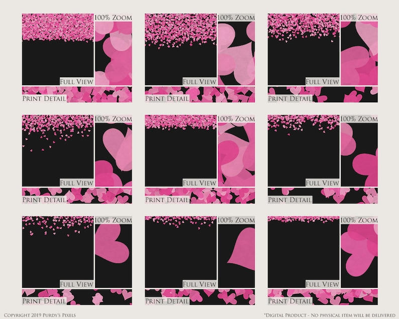 Valentine/'s Day Printable Scrapbooking Borders Pink Hearts Confetti Digital Overlays