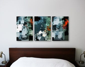 ALUMINUM PRINT SET Sky Blood Trio - Abstract Art Wall Print on Metal Abstract Composition Wall Decor Art from Video Limited Edition