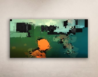 ALUMINUM PRINT GreenSpace 1 - Abstract Art Wall Print on METAL Abstract Composition Wall Decor Art from Video Limited Edition Wide