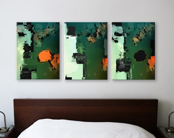 ALUMINUM PRINT SET GreenSpace Trio - Abstract Art Wall Print on Metal Abstract Composition Wall Decor Art from Video Limited Edition