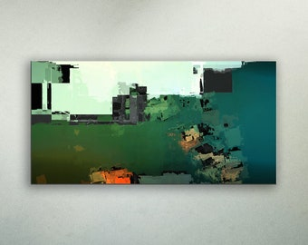 ALUMINUM PRINT GreenSpace 2 - Abstract Art Wall Print on METAL Abstract Composition Wall Decor Art from Video Limited Edition Wide