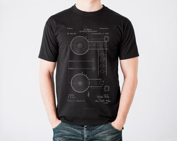 30b1f4712 Tesla Patent T-Shirt Tesla Electrical Transformer Shirt | Etsy