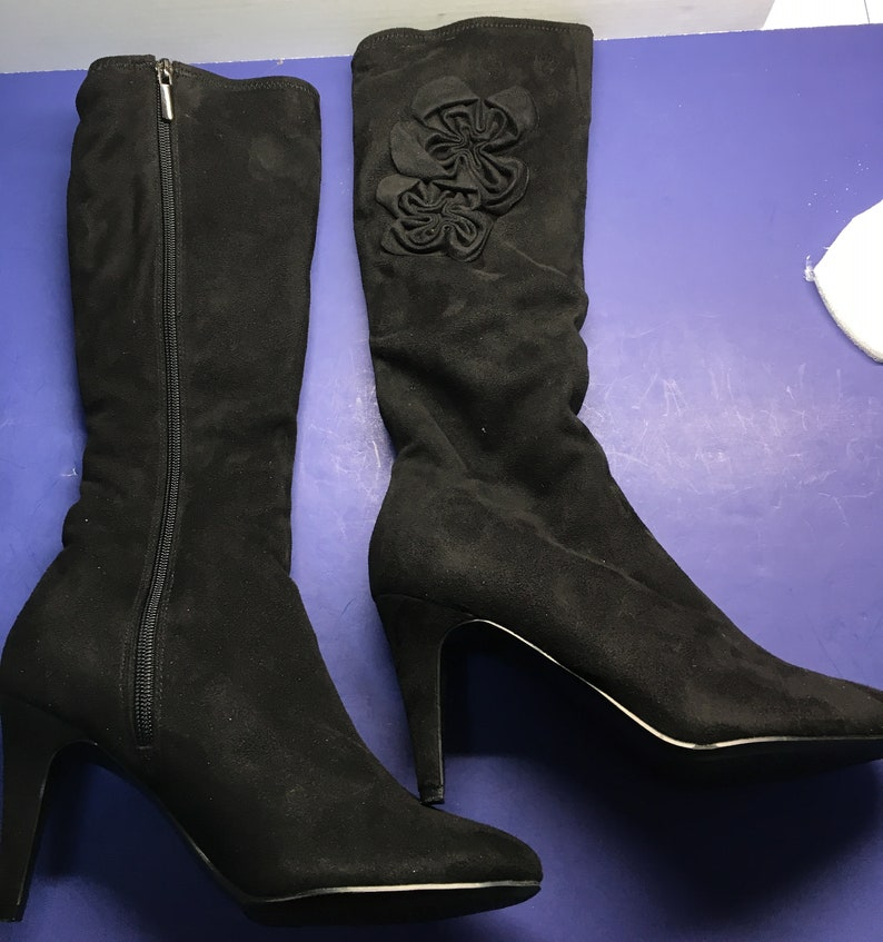 729405daa7d NEW** Womens Black suede boot, size 7-1/2 M. Full length zipper. 3-1/2 inch  heel, 18 inch height. New in box old stock. P2