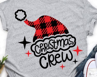 Christmas Crew Svg, Christmas Svg, Santa Svg Dxf Eps Png, Buffalo Plaid Santa Hat Cut Files, Family Matching Shirts Svg, Cricut, Silhouette