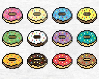 Donut Svg Donuts Dxf Eps Cut File Doughnut Sprinkle Vector Clipart Cute Birthday Party Decor Pixel Art