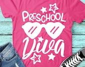 Preschool Diva Svg, Back To School Svg, Preschool Shirt Design, Girls Svg, Dxf, Eps, Kids, First Day of School Cut Files, Silhouette, Cricut