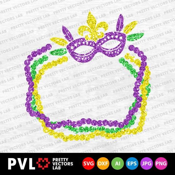 Mardi Gras Svg Mardi Gras Mask And Beads Svg Dxf Eps Etsy