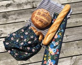 Individual or Set bread bag of 2 bread bags Baguette Miche croissants bagels 100 Cotton bulk