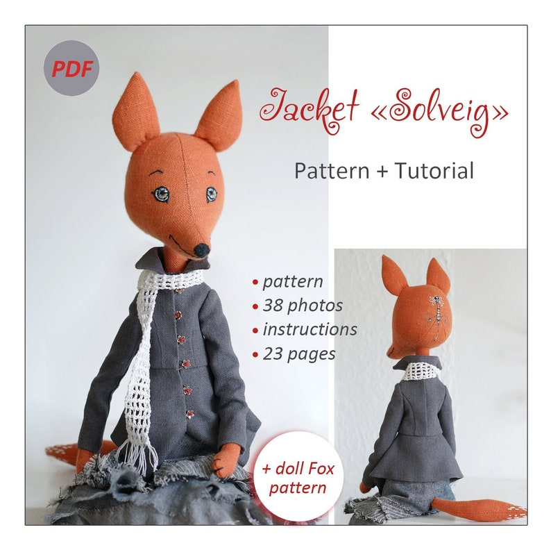 Doll clothes sewing pattern: jacket  Fox toy free sewing pattern  Tutorial   Step-by-step guide  How to sew a lined jacket for a doll  PDF