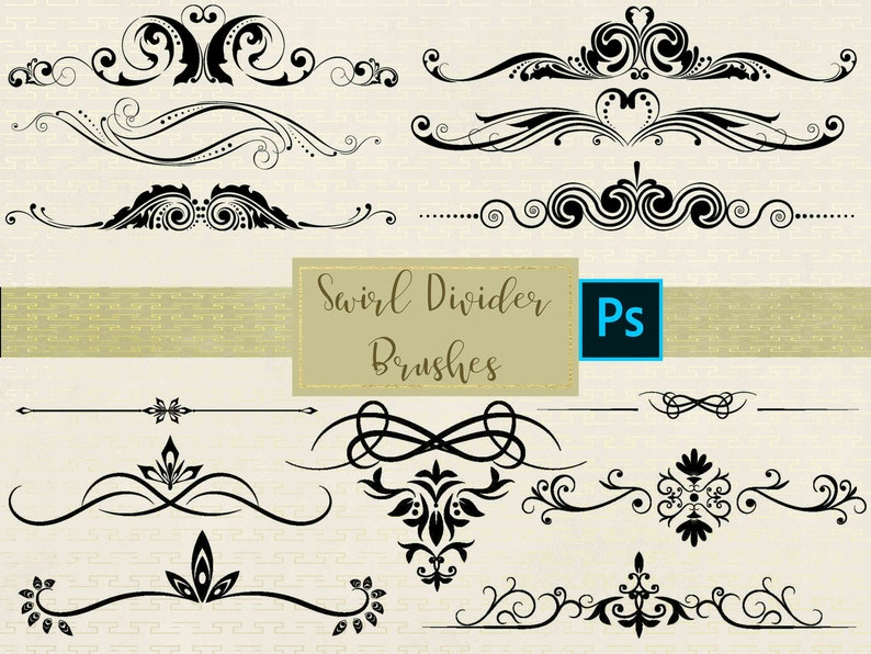 Instant Download High Resolution ABR Files Commercial Use OK. 16 Swirl Divider Photoshop Brushes