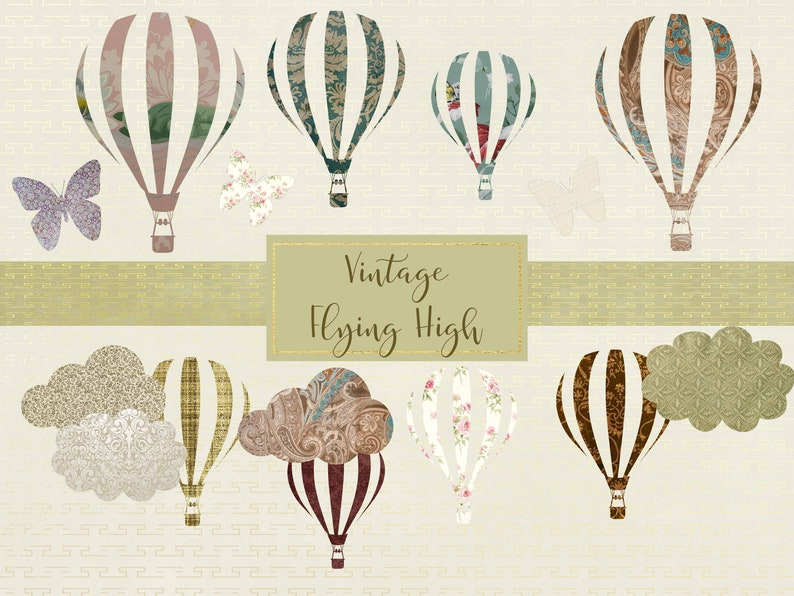 High Resolution 300ppi Instant Download Separate PNG Files and EPS File Commercial Use OK. Vintage Flying High Elements