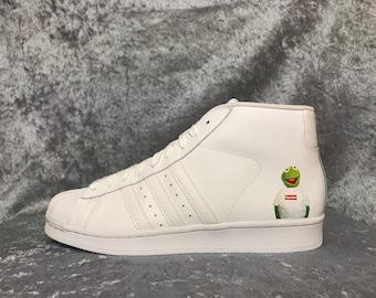 7d9378fffe08 Custom Adidas SuperStar Mid X Supreme Kermit