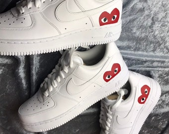 new concept 310c2 9faa3 Custom Sneakers NIKE Air Force 1 CDG Play   Comme Des Garcons AF1  Designer  Shoes   Men Women