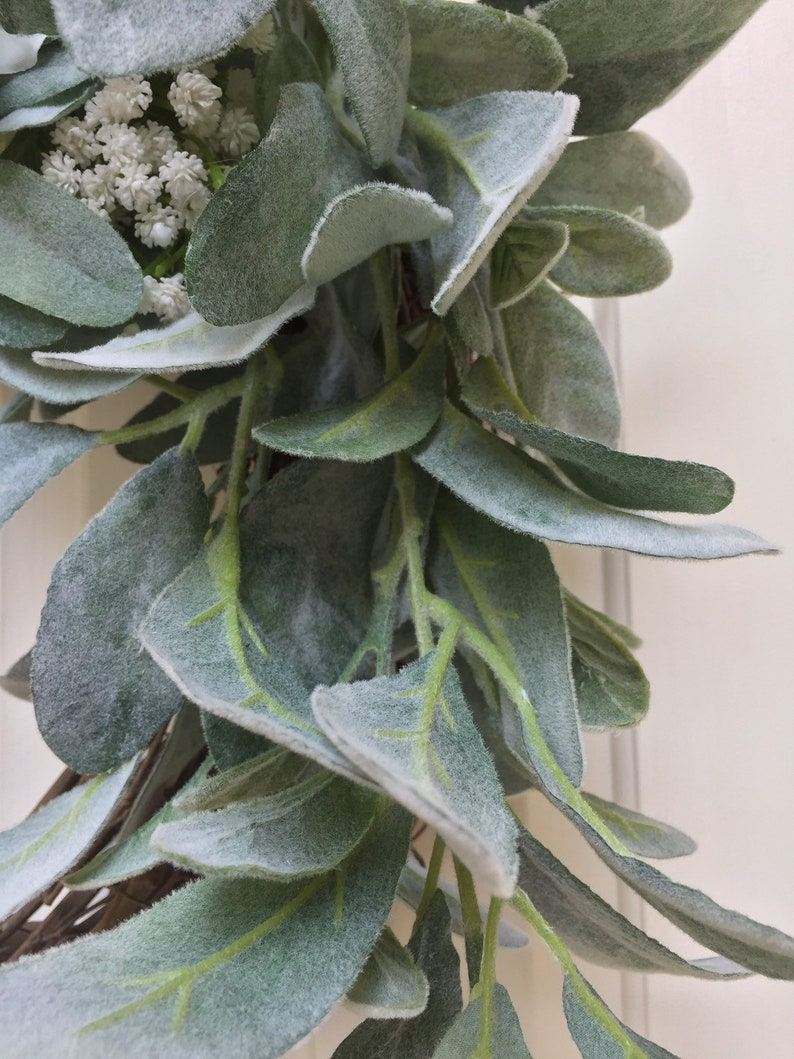 Lambs Ear White Flowers White Hydrangea and Lambs Ear Greenery Wreath for the Front Door Lambs Ear Hydrangea Wreath Mother/'s Day Gift