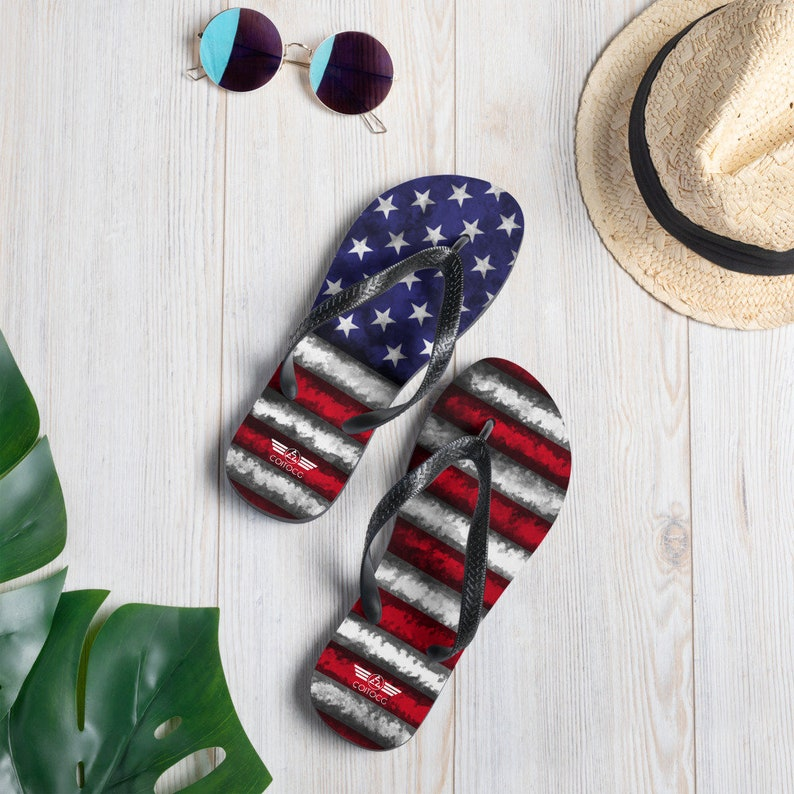 Flip Flops American Flag Flip Flops 4th of July Flip Flops image 0