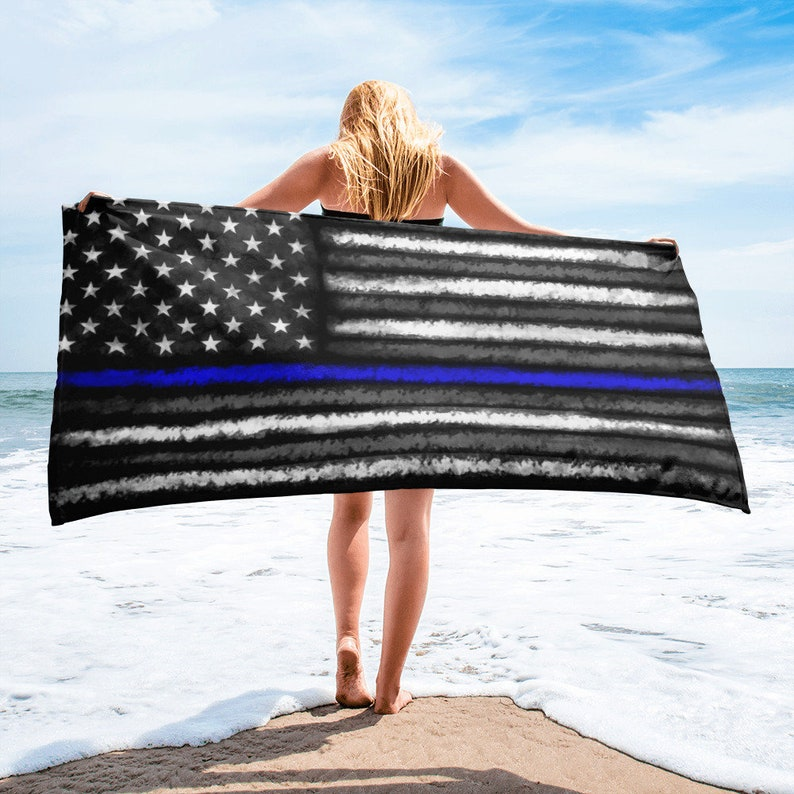 Police Towel Thin Blue Line Towel for Police Officer Beach image 0