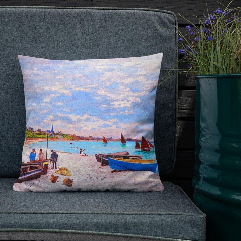 Beach Pillow Linen Feel Beach Throw Pillow Ocean Pillow Ocean image 0