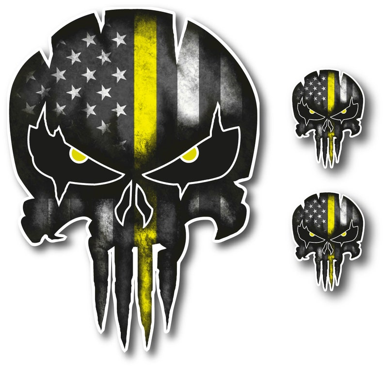 3-pk Tow Lives Matter Punisher Skull Decal American Flag Thin image 0