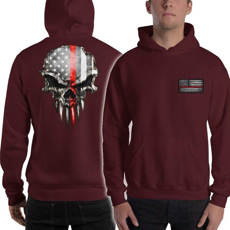 Firefighter Punisher Skull Hoodie Sweatshirt with Hood Thin image 0