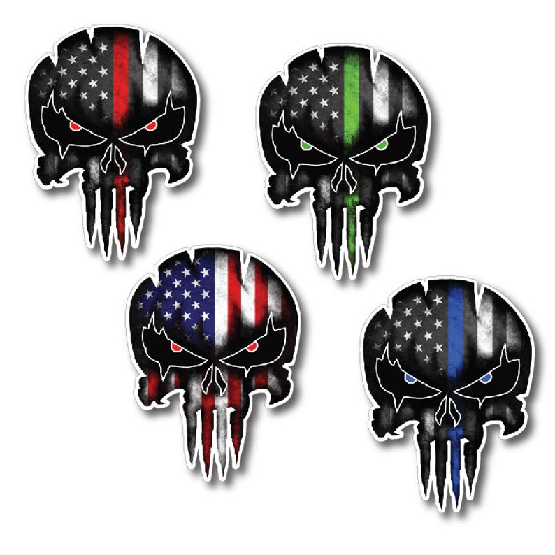 4 Pack Punisher Skull Decal for First Responder Thin Line image 0