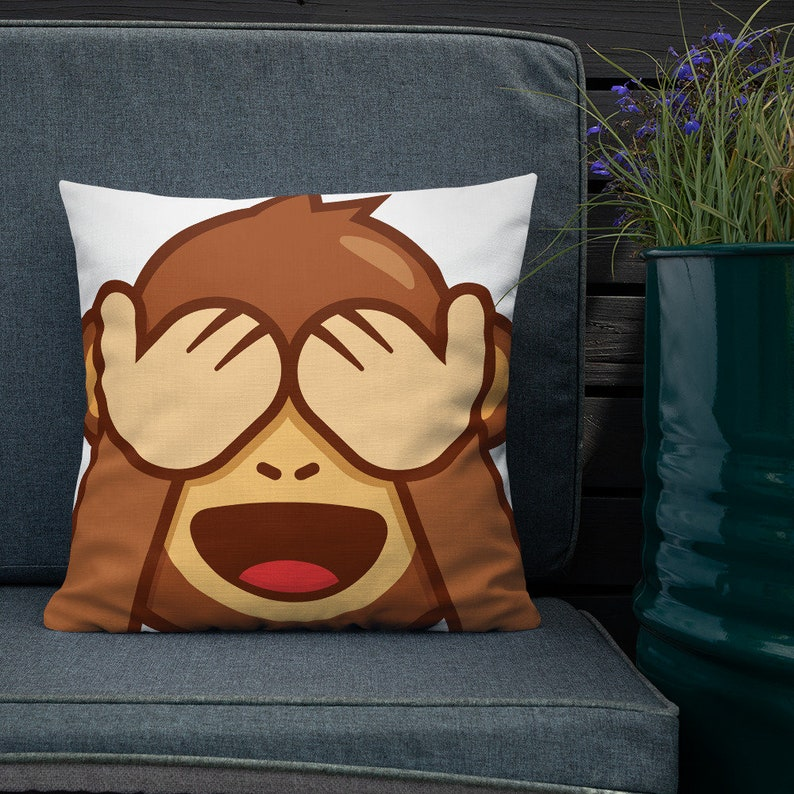 See No Evil Monkey Emoji Pillow Throw Pillow with Insert image 0