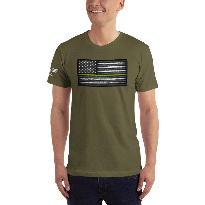 Thin Green Line Graphic Tee Shirt Fitted Shirt for Military image 0