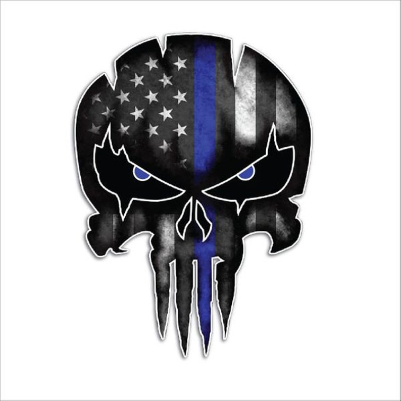LARGE Thin Blue Line Decal Police Punisher Skull Vinyl Decal image 0