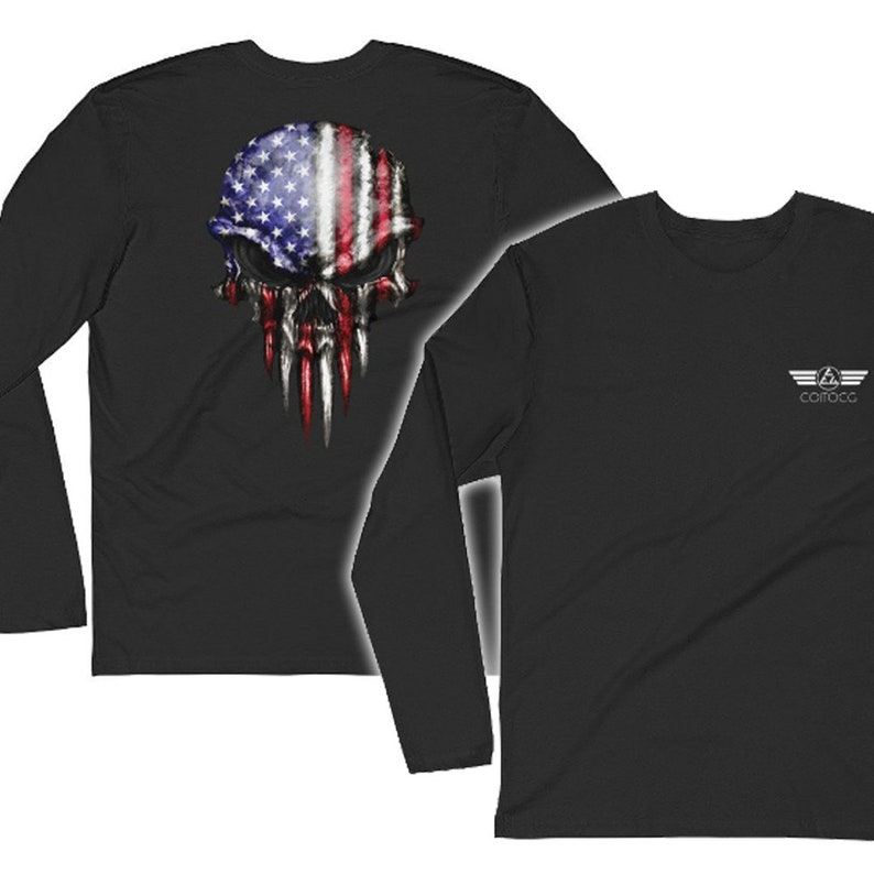 USA Flag Skull Graphic Tee Fitted Long Sleeve Fitted Crew image 0